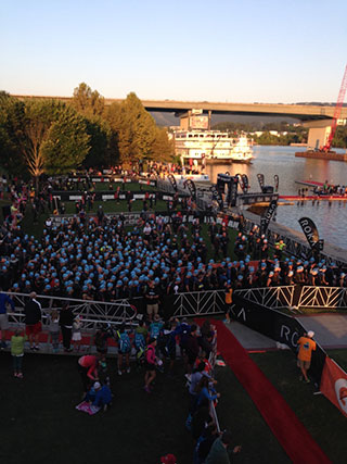 Image: Ironman swinmmng starting line